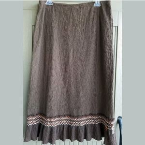 ELEMENTZ Pretty Brown Boho SKIRT sz XL